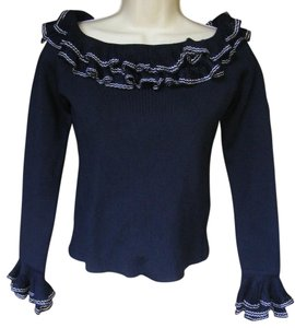 Ralph Lauren Black Label Boatneck Knit Ruffles Navy Tunic