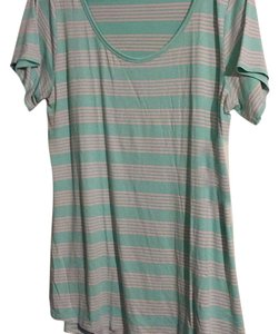 LuLaRoe T Shirt Teal w/ pink stripes