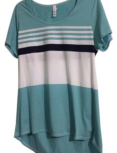 LuLaRoe T Shirt Blue, navy and white striped
