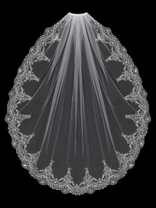 EnVogue Bridal Exquisite Silver Beaded Embroidery Bridal Veil In White
