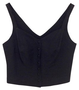 Banana Republic Crop Buttons Linen Top black