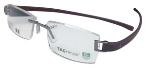 TAG Heuer Rimless TAG HEUER Eyeglasses TH 7102 018 52-18 Ruthenium & Burgundy