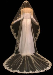 Ivory Beaded Lace Mantilla Cathedral Wedding Veil
