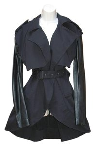 Preen by Thornton Bregazzi Leather Zip Trench Hi-low Black Jacket