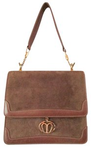 Mark Cross Top Handle Vintage Suede Leather Shoulder Bag