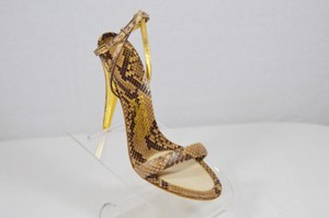 Salvatore Ferragamo Evening Python Beige/Gold Sandals