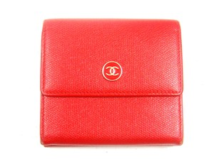 Chanel Caviar Skin Leather Trifold Wallet Italy