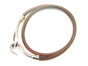 Hermès Silver/Brown Leather Jumbo Hook Double Wrap Bracelet France