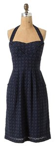 Anthropologie short dress BLUE Branch Eyelet Halter on Tradesy