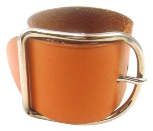 Hermès Silver/Brown Leather Buckle Cuff Bracelet France w/ Box