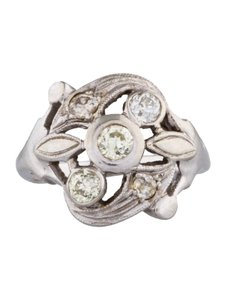 Vintage Floral White Gold Diamond Pinky Ring Size 4