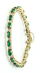Tennis Bracelet * Emerald and Diamond Gold Tennis Bracelet.