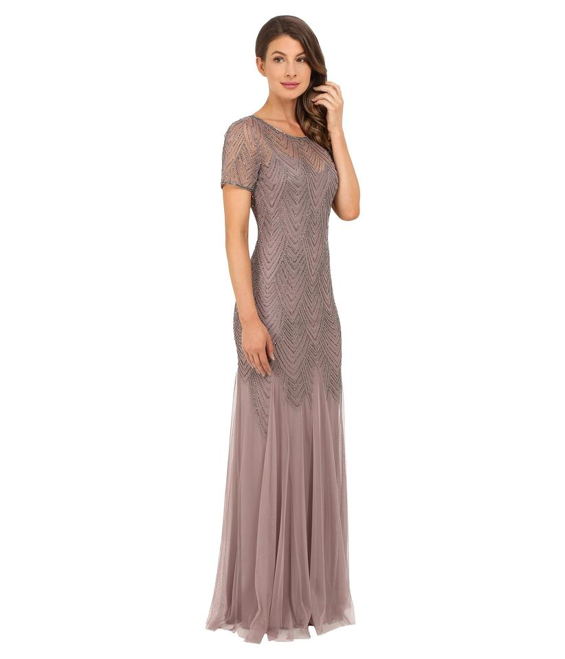 Adrianna Papell Stone Short-sleeve Beaded Gown Formal Bridesmaid/Mob ...