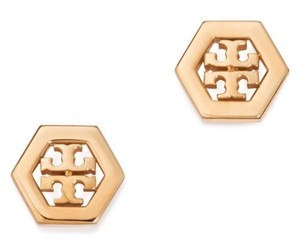 Tory Burch Tory Burch 31155532 Hex-Logo Stud Rose Gold tone Post Earrings NEW!
