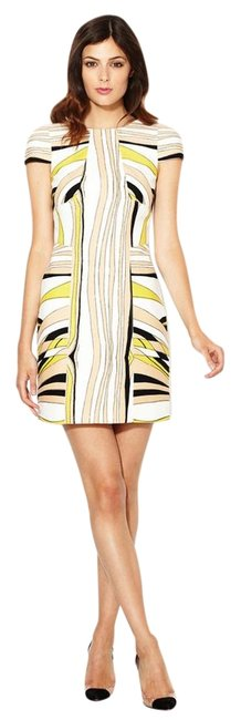 Item - Black/Yellow Multi Wave Cotton Cap Sleeve Above Knee Short Casual Dress Size 6 (S)