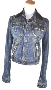 DSQUARDED 2 Denim Pony Hair Collar Size 6/42 Womens Jean Jacket