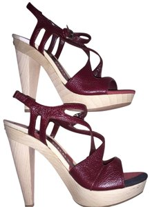 Burberry Sandals Wooden Heel Leather Platforms