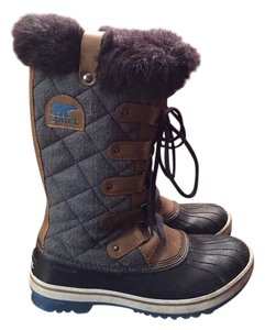 Sorel Leather Faux Fur Snow Boot Gray & Tan Boots