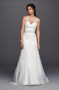 David's Bridal Jewel Lace With Halter Neckline And Double Keyhole Back Wedding Dress