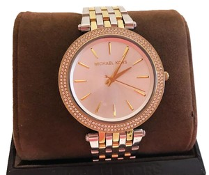 Michael Kors Silver Dial Gold & Silver with Swarovski Crystals Bezel Watch