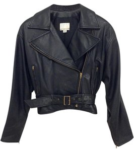 Vakko Leather Biker Belt Zippers Black Jacket