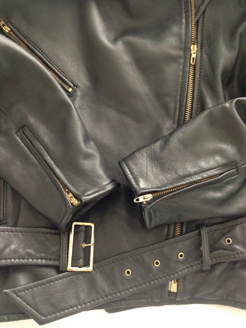 Vakko Leather Biker Belt Zippers Black Jacket Image 7