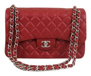 Chanel Caviar Leather Jumbo Double Flap Dark Pink/ Rasberry Silver Hardware Shoulder Bag