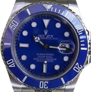 Rolex Submariner Mens 116610 Blue Ceramic Bezel White Gold 116619 Yr2015