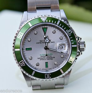 Rolex Rolex Green Submariner Mens 16610 Stainless Steel Watch Emerald Diamond Dial