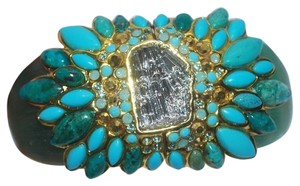 Alexis Bittar montauk lucite hinged cuff jeweled bracelet