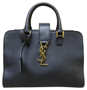 Saint Laurent Ysl Leather Cabas Satchel in black
