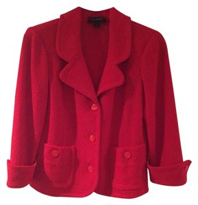 St. John Red Knit 3/4 Sleeve Button Up Blazer.