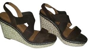 Franco Sarto Espadrille Sandal Leather Suede Brown Wedges