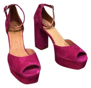 Shellys London Peep Toe Pink Suede Spain Ankle Strap Fuchsia Platforms