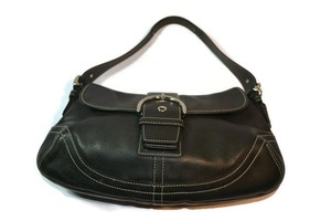Coach Hamptons Hobo Satchel in Black