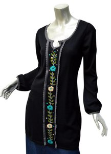 Knitted Dove Boho Knit Embroidered Sweater Ultra Mini Tunic