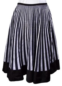 Elevenses Retro Stripes Circle Festival Black And Gray Skirt Black Stripe