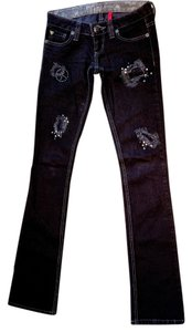 Guess Studded Limited Edition Distressed Straight Leg Jeans-Dark Rinse