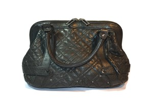 Elliot Lucca Quilted Leather Doctor Handbag Satchel in Black