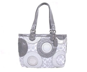 Coach Tote in Multi Gray Silver