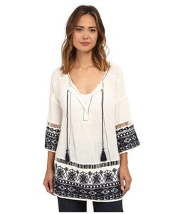 Free People Cotton Embroidered Cut-out V-neck Tassels Tunic