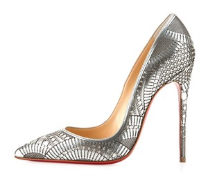 Christian Louboutin So Kate 120 Brocade Fabric Silver Pumps