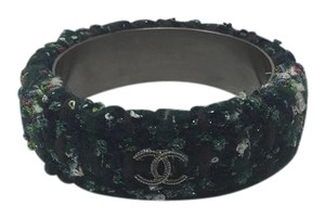 Chanel Chanel Plaid Tweed Cuff in Navy Blue and Green