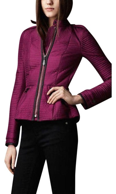 Item - Magenta XS London Quilt Silk with Leather Trim Coat Jacket Size 2 (XS)