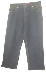 COS Leather Accents Capris Straight Leg Jeans-Dark Rinse