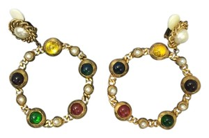 Chanel Authentic Chanel Earrings in Gold with Multi Color Stones