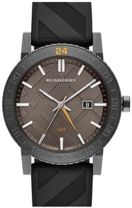 Burberry NWt Burberry The New City GMT Black Check Rubber Strap Watch BU9341