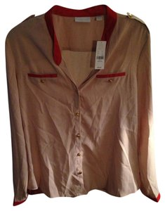 New York & Company Button Down Shirt Beige and Orange