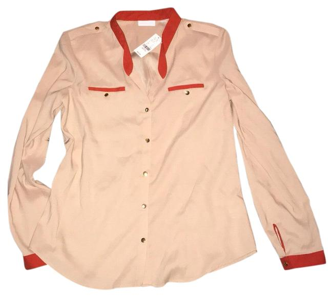 Item - Beige and Orange Button-down Top Size 8 (M)