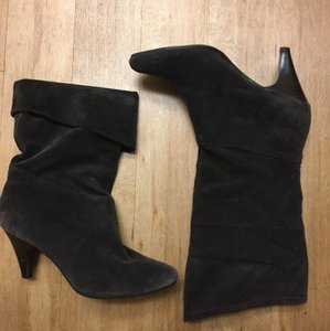 Kelly & Katie Leather Suede Dark Brown Boots
